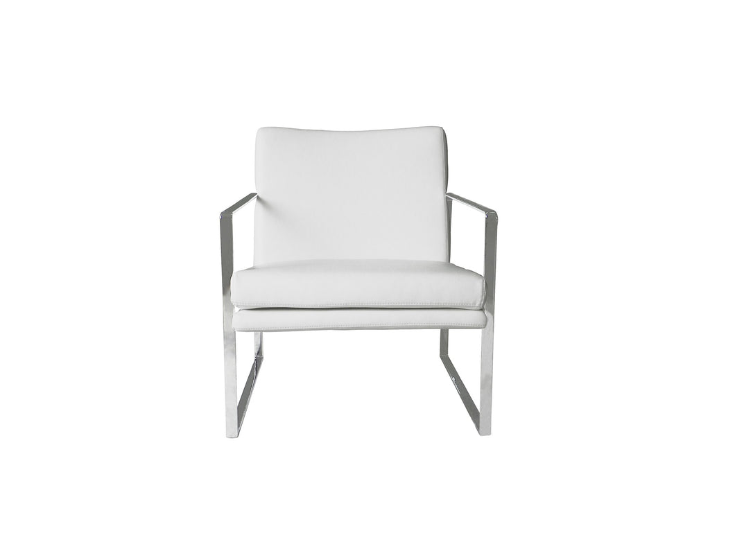 Lennox chair Gray Faux Leather stainless steel frame