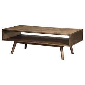 Modern Mid-Century Style Coffee Table in Light Brown Wood Finish