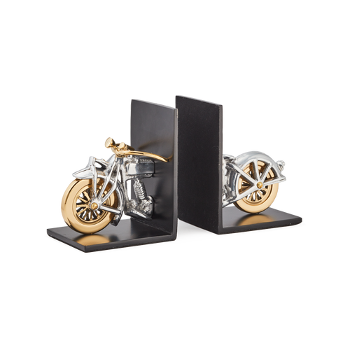 MOTORCYCLE BOOKENDS SOLID ALUMINUM