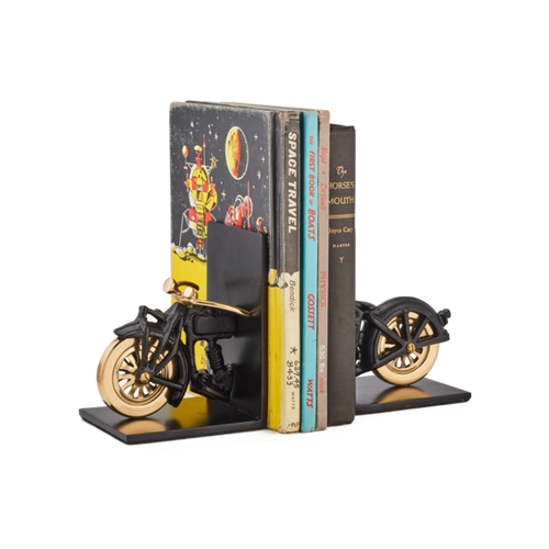 MOTORCYCLE BOOKENDS SOLID ALUMINUM Black