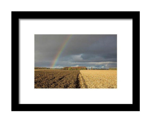 Rainbow Over A Farm Field - Framed Print