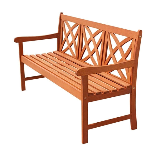 Eucalyptus Wood 5-Ft Outdoor Garden Bench in Natural Finish