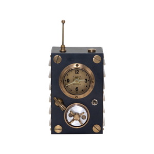 Transmitter Table Clock is a wonderful combination of vintage knobs, dials, switches and antennas.
