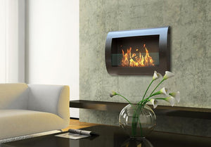 Chelsea Wall-Mounted Ventless Bioethanol Fireplace, Black