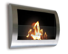 Chelsea Wall-Mounted Ventless Bioethanol Fireplace, Black Stainless Steel
