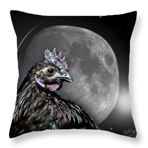Chicken W Full Moon - Throw Pillow