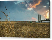 Corn Field With Silos At Sunset - Canvas Print