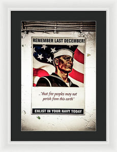 Enlist In Your Navy Today Art  - Framed Print