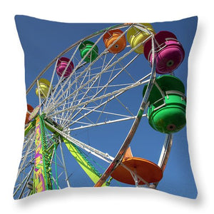 Looking Up At A Giant Ferris Wheel - Throw Pillow
