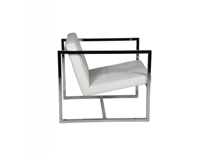 Lisa chair white Faux Leather chrome  frame