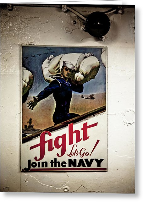 Navy Poster Fight  - Greeting Card