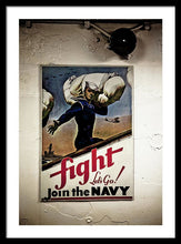 Navy Poster Fight  - Framed Print