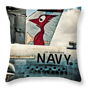 Uss Independence Navy Plane  Tail  - Throw Pillow