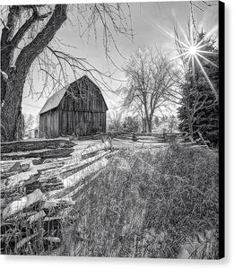 Old Barn And Fence In Winter - Canvas Print