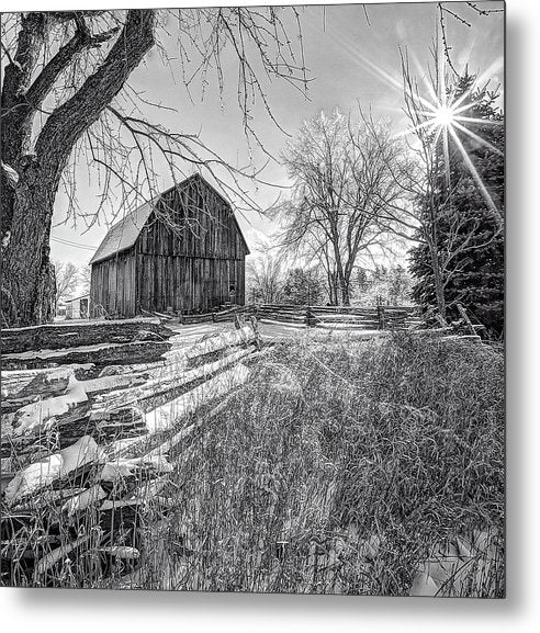 Old Barn And Fence In Winter - Metal Print
