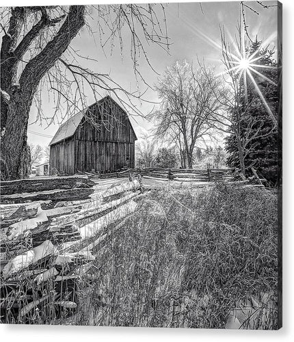 Old Barn And Fence In Winter - Acrylic Print