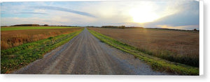 Panorama Of Gravel Road At Sunset - Canvas Print
