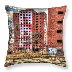 Urban Decay Buildings In Detroit - Throw Pillow