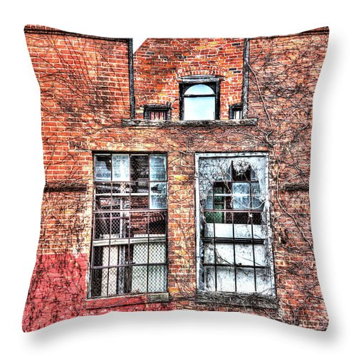 Urban Wall In Detroit - Throw Pillow
