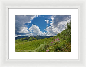 Yellowstone Landscape  With Clouds - Framed Print