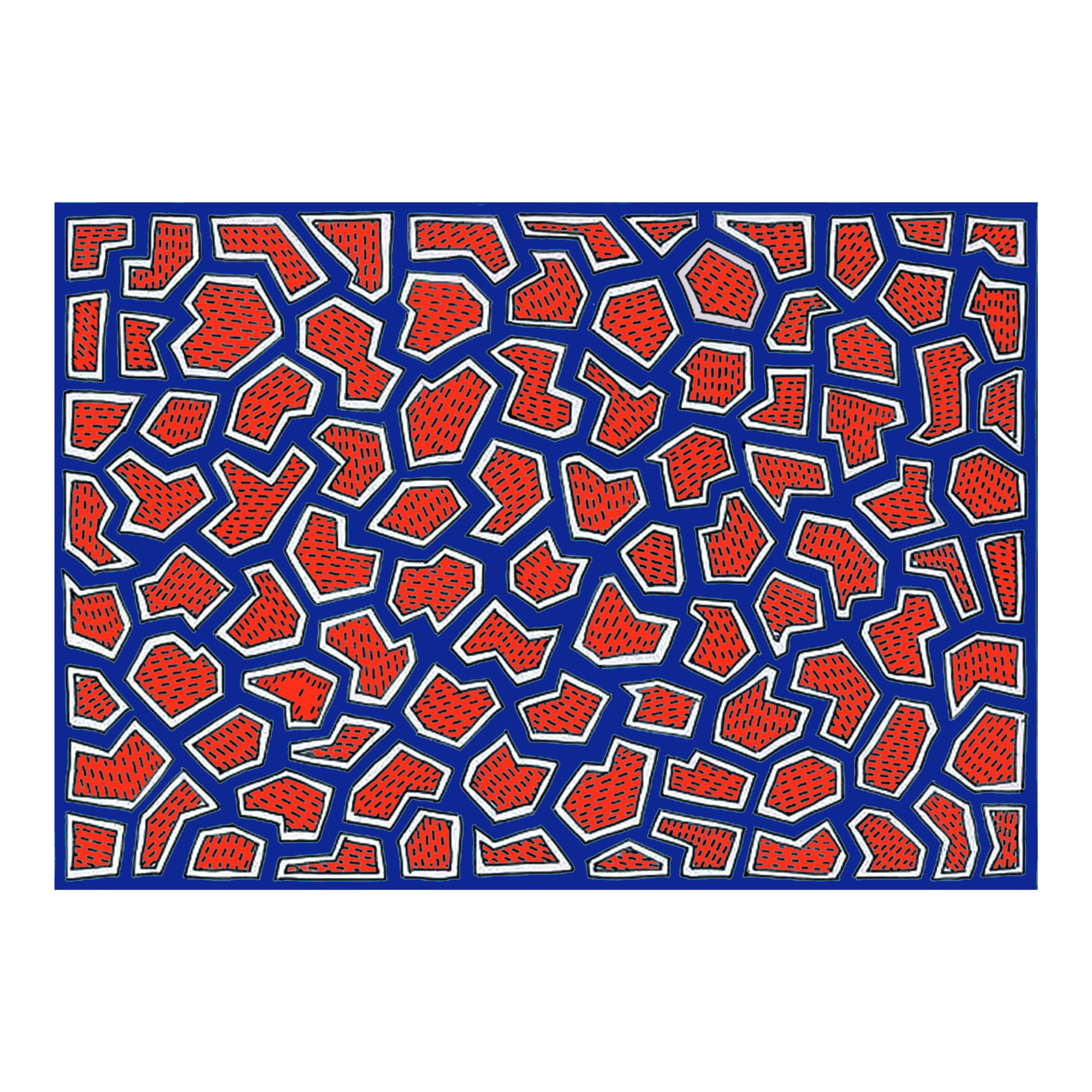 France Rug: Red + Blue + Black + White