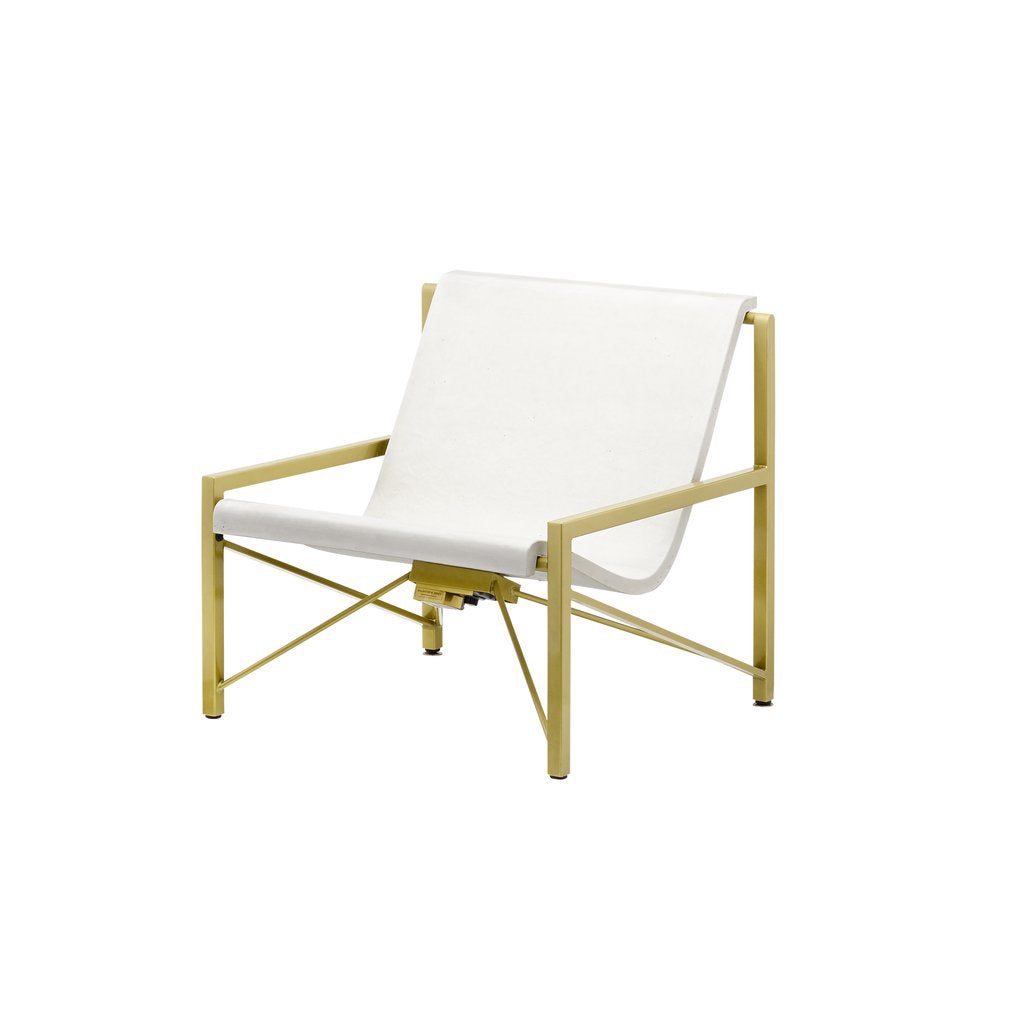 Evia Chair with Adjustable Heating: Brass + Arctic White