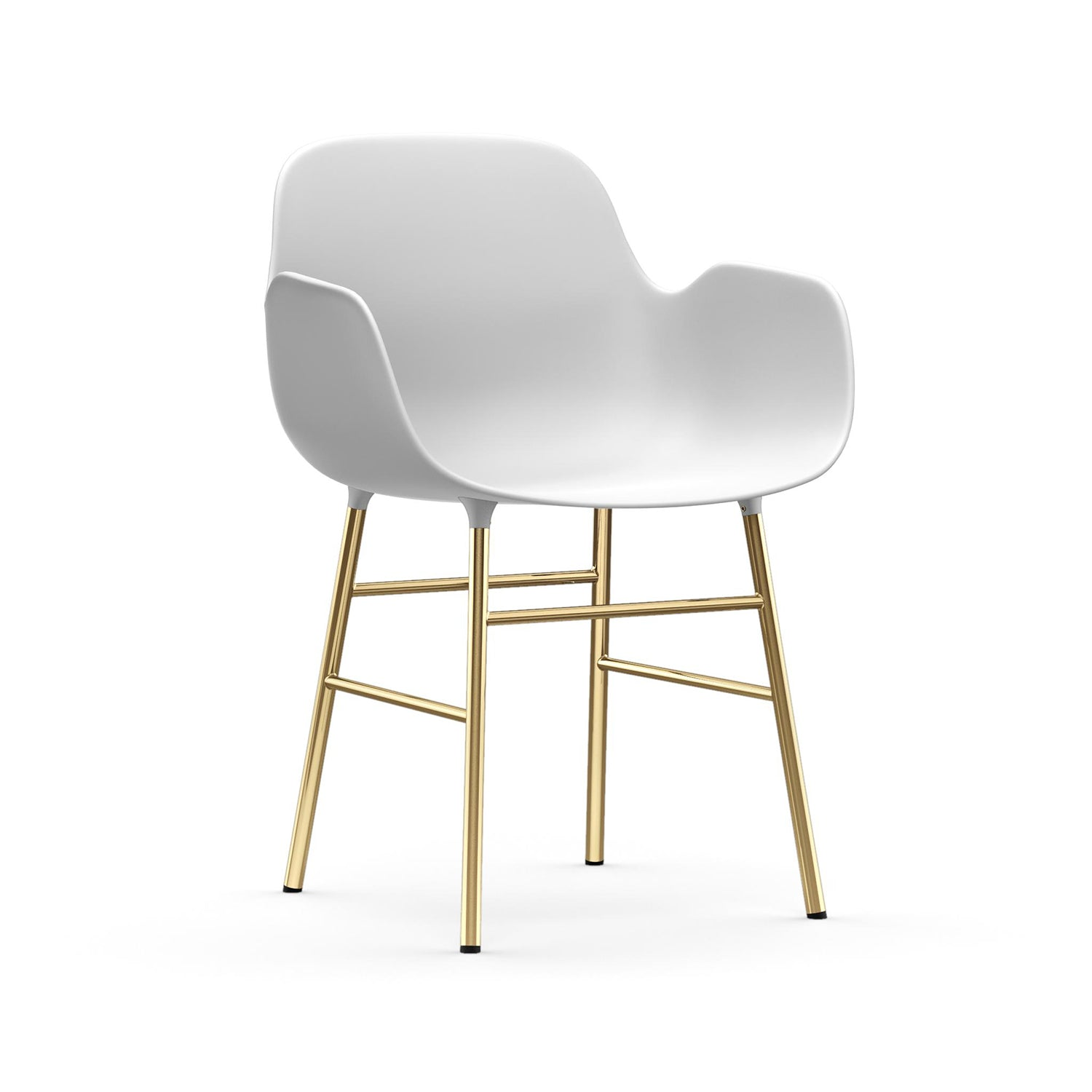 Form Armchair: Brass: White