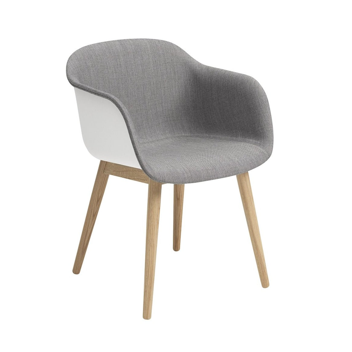 Fiber Armchair: Wood Base Front Upholstered