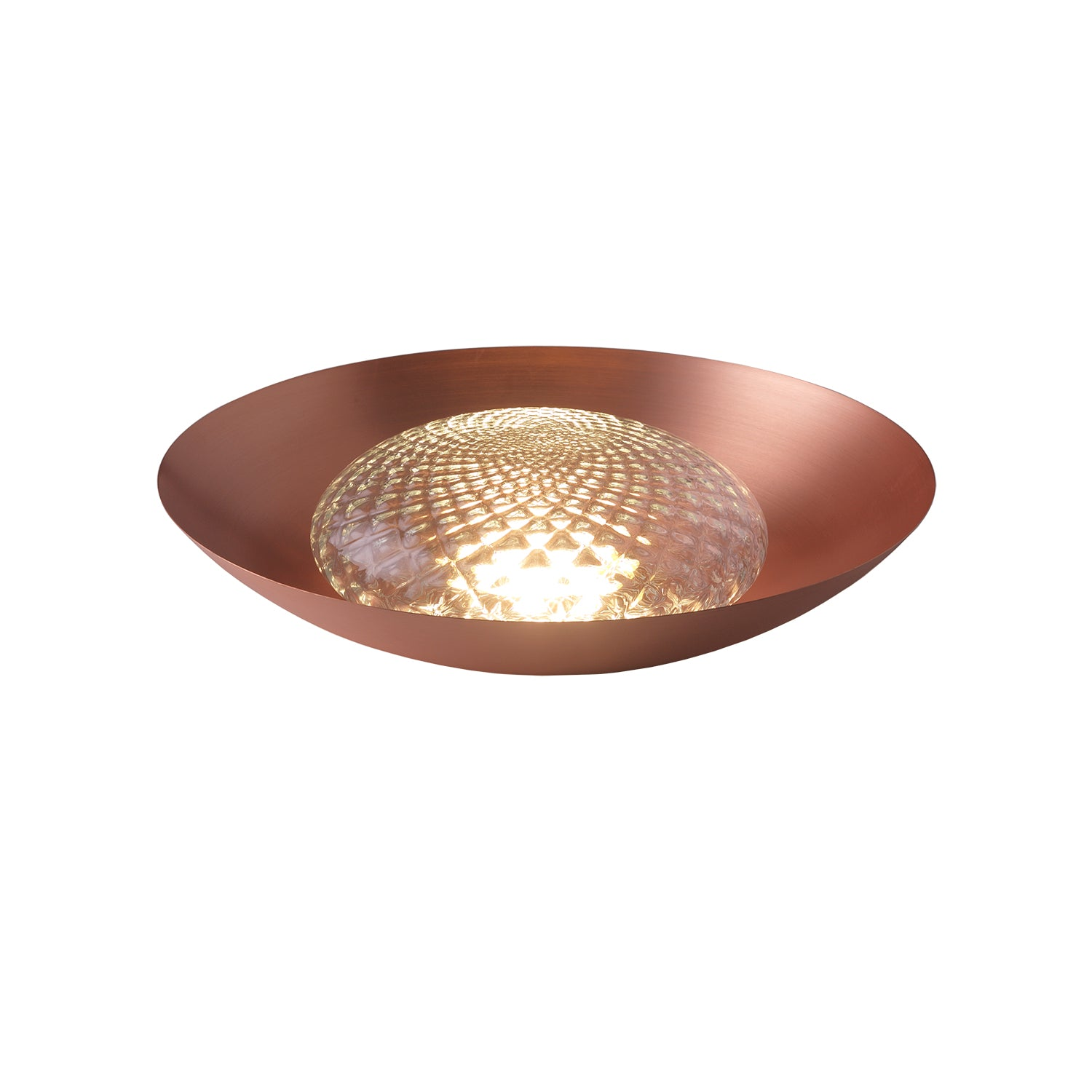 Wok Table Lamp - Satin Copper + Clear Patterned Glass