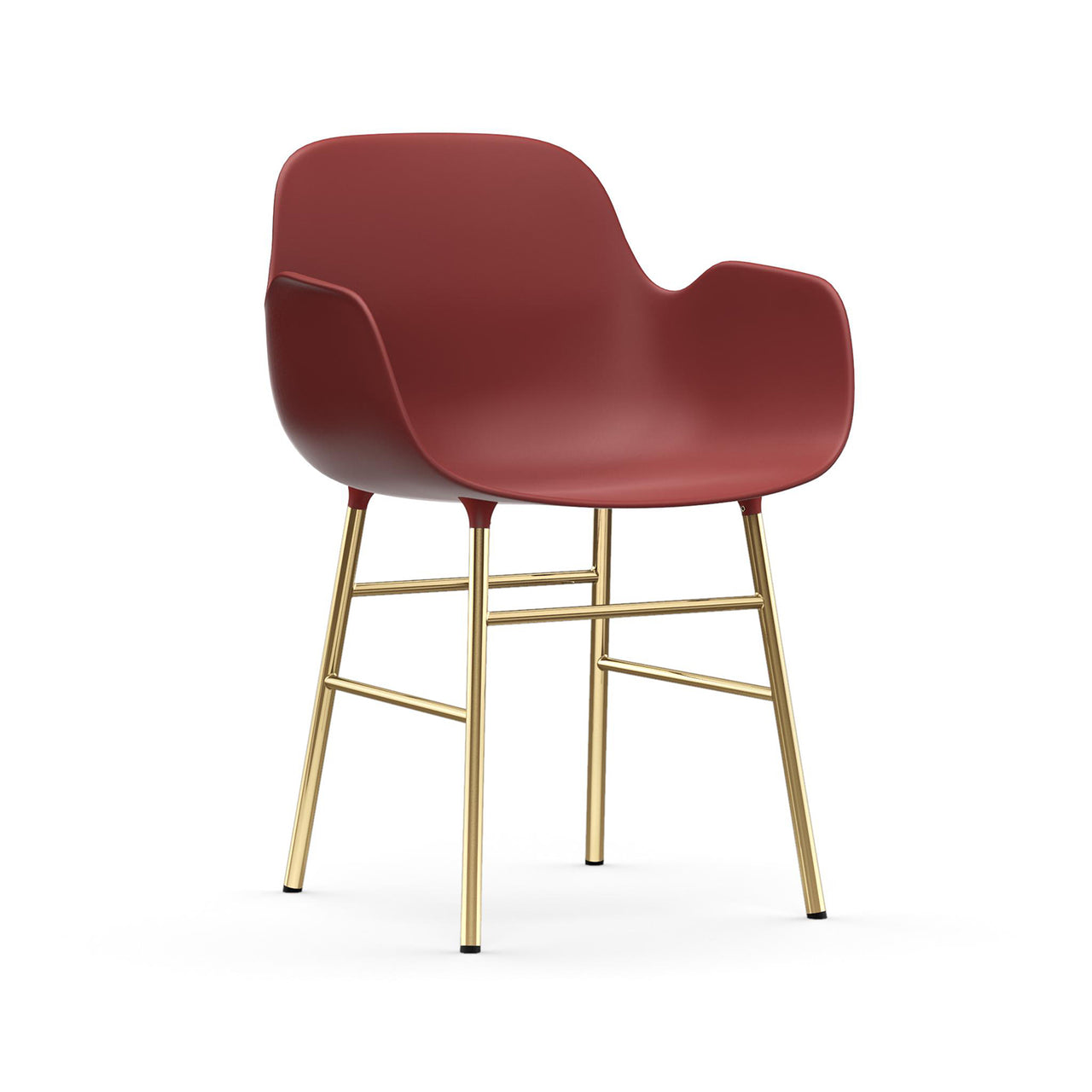 Form Armchair: Brass: Red