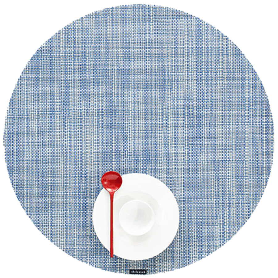 Mini Basketweave Placemats: Round + Chambray