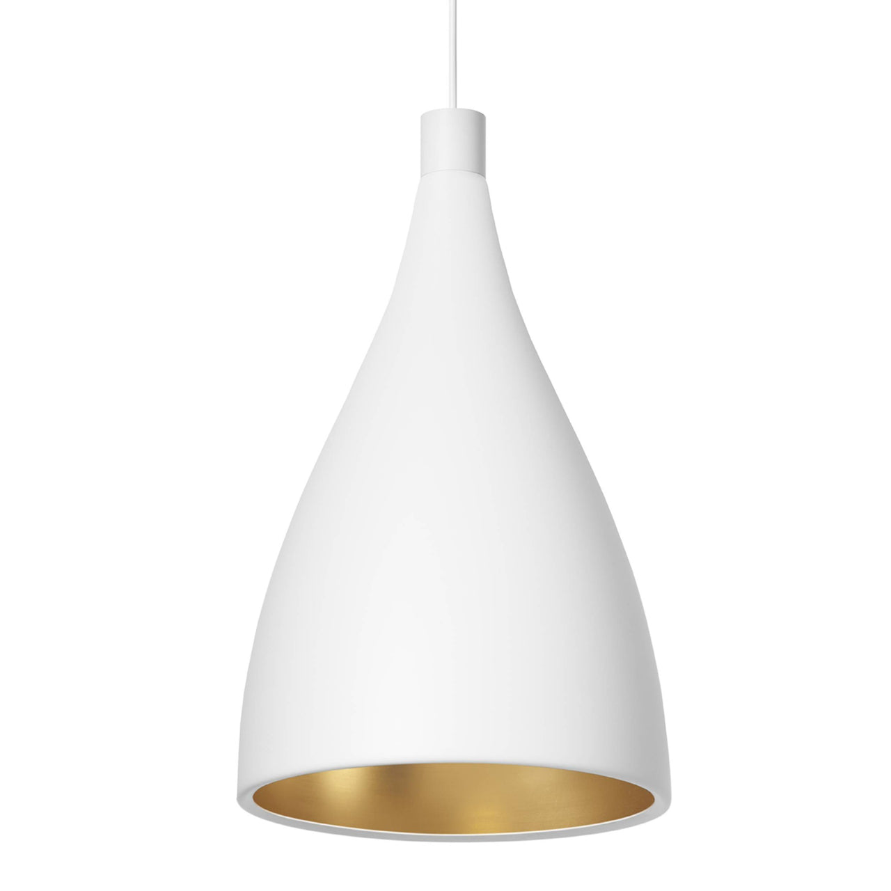 Swell Single Indoor/Outdoor Pendant Light: XL Narrow + White + Brass