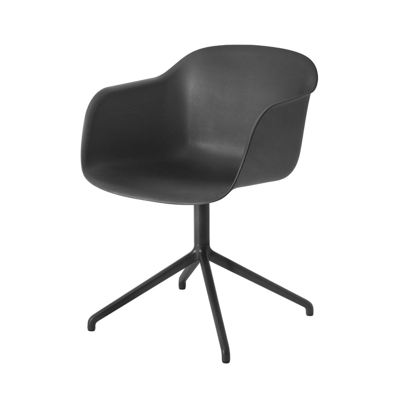 Fiber Armchair Swivel Base: Black