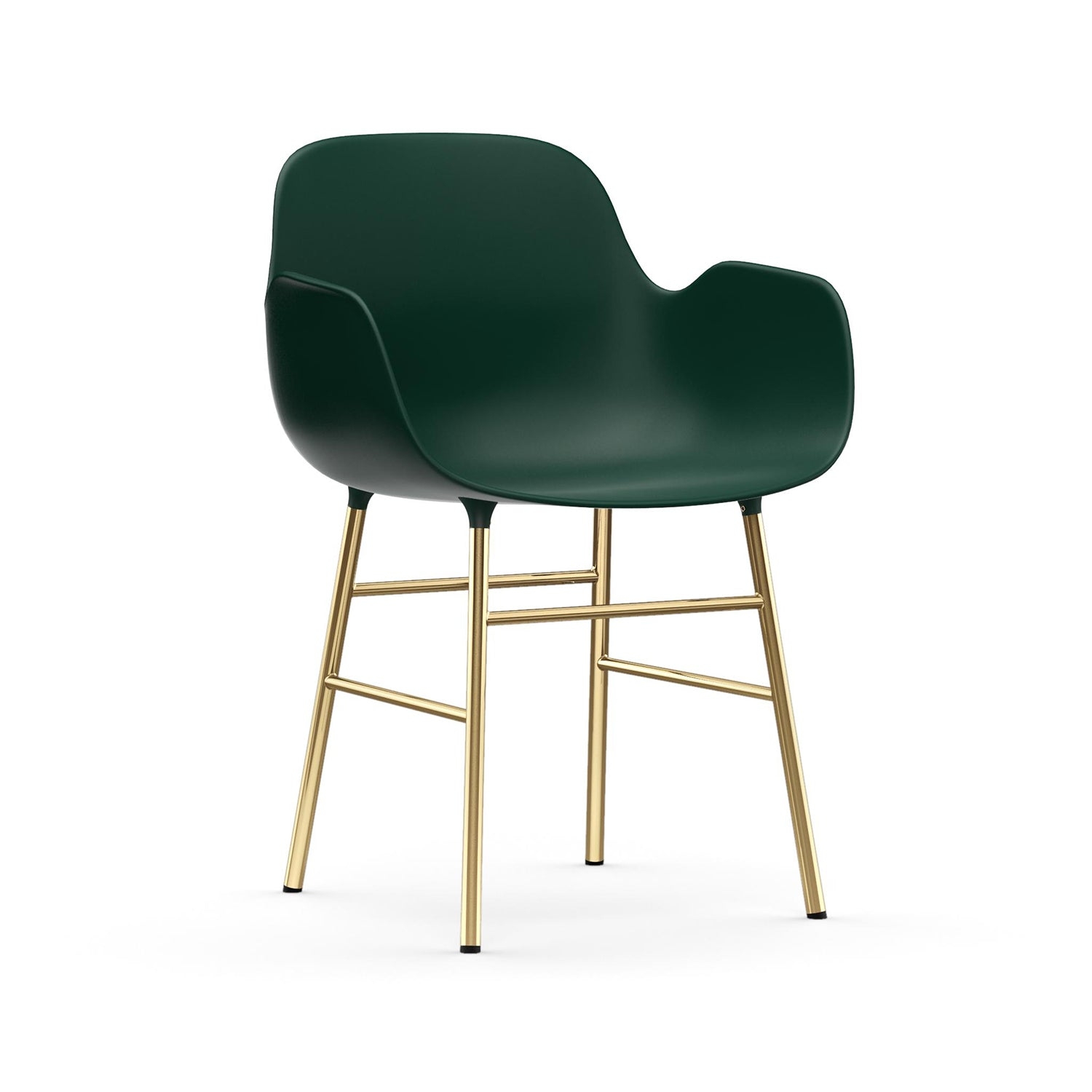 Form Armchair: Brass: Green