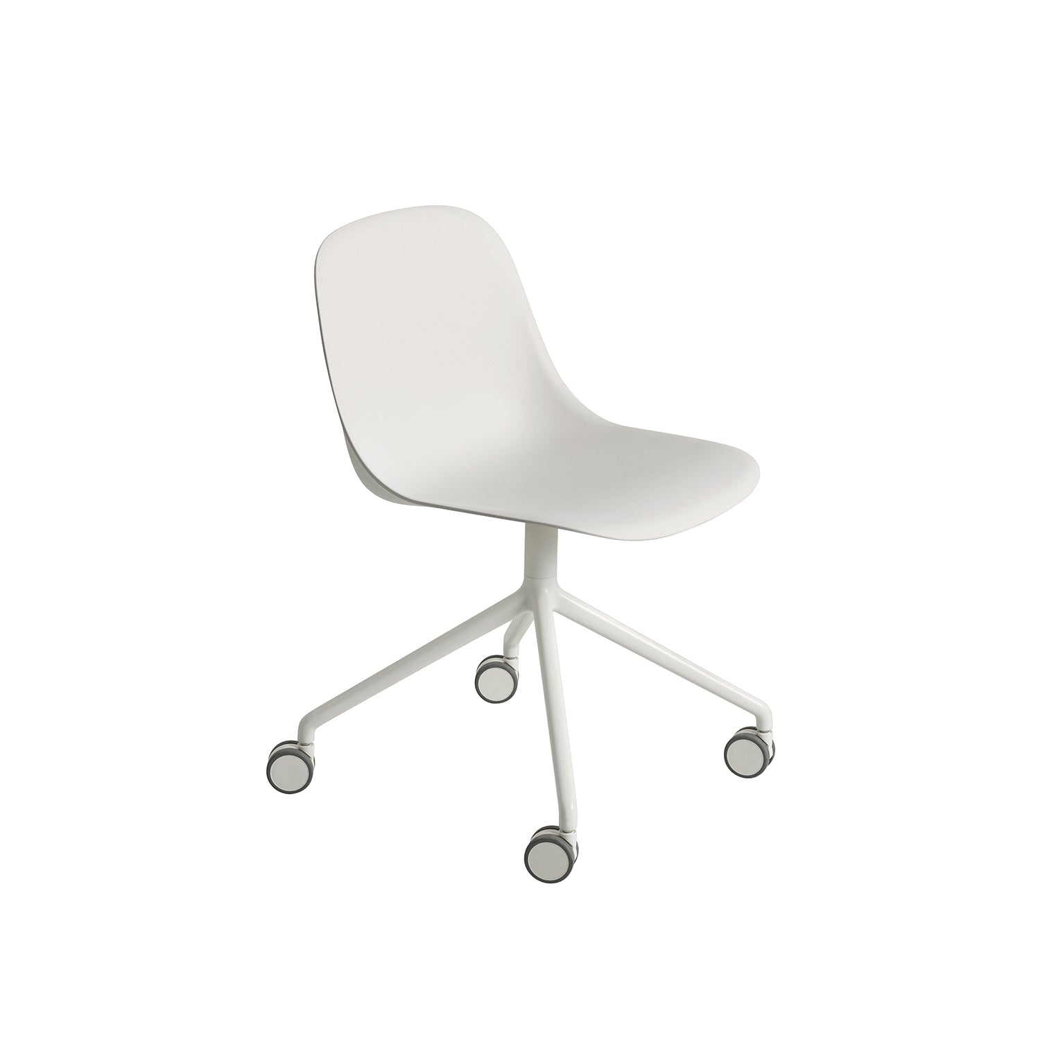 Fiber Side Chair: Swivel Base With Castors: Natural White