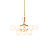 Apiales 9 Chandelier: Brushed Brass + Opal White