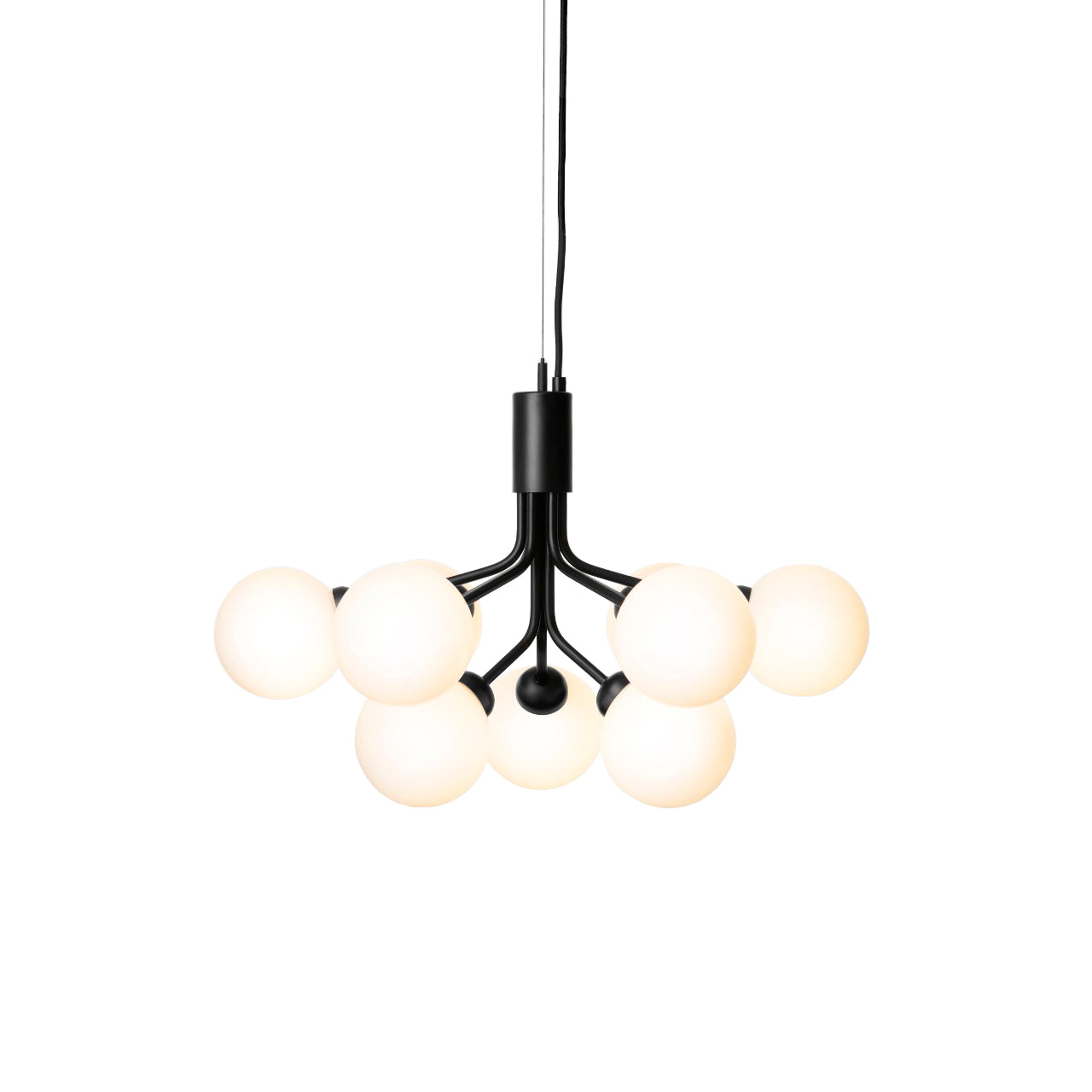 Apiales 9 Chandelier: Satin Black + Opal White