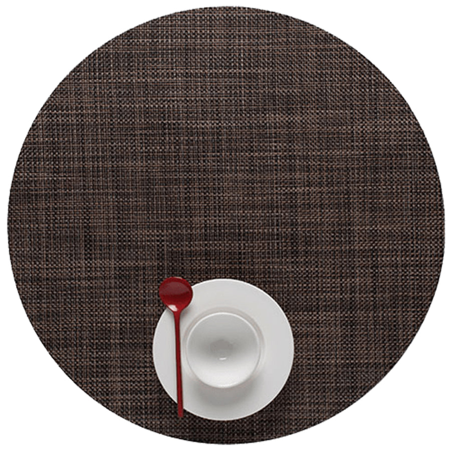 Mini Basketweave Placemats: Round + Dark Walnut