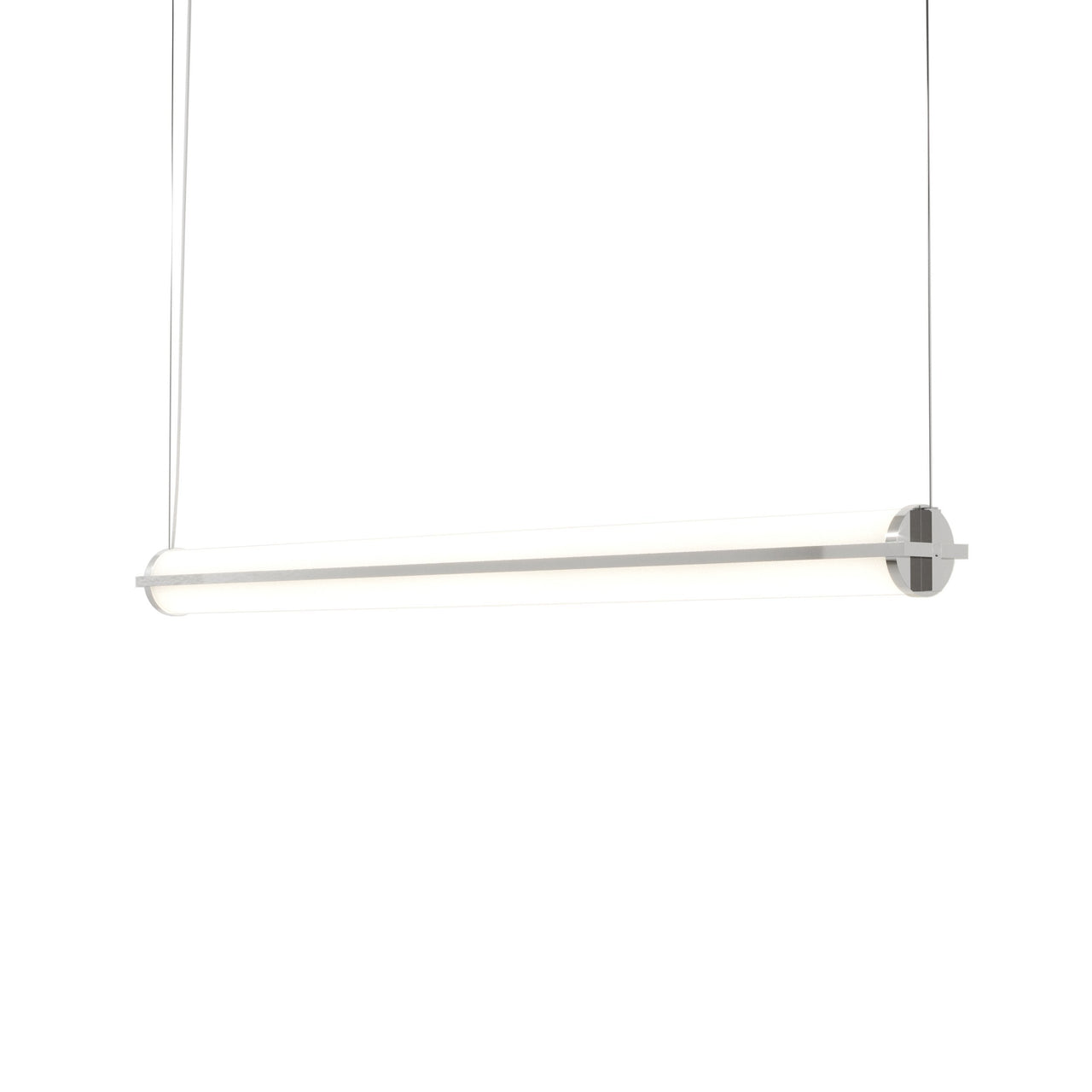 Metropolis Linear Suspension Light: Large + Polished Aluminum + No Mesh Diffuser