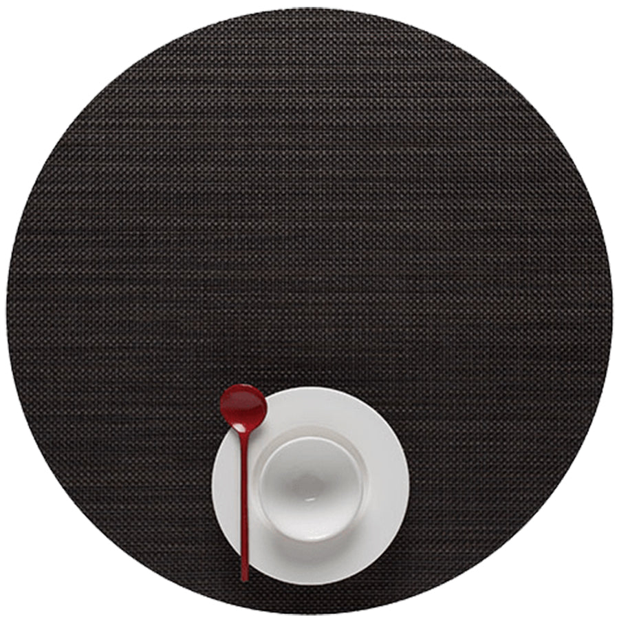 Mini Basketweave Placemats: Round + Espresso
