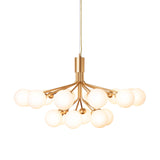 Apiales 18 Chandelier: Brushed Brass + Opal White