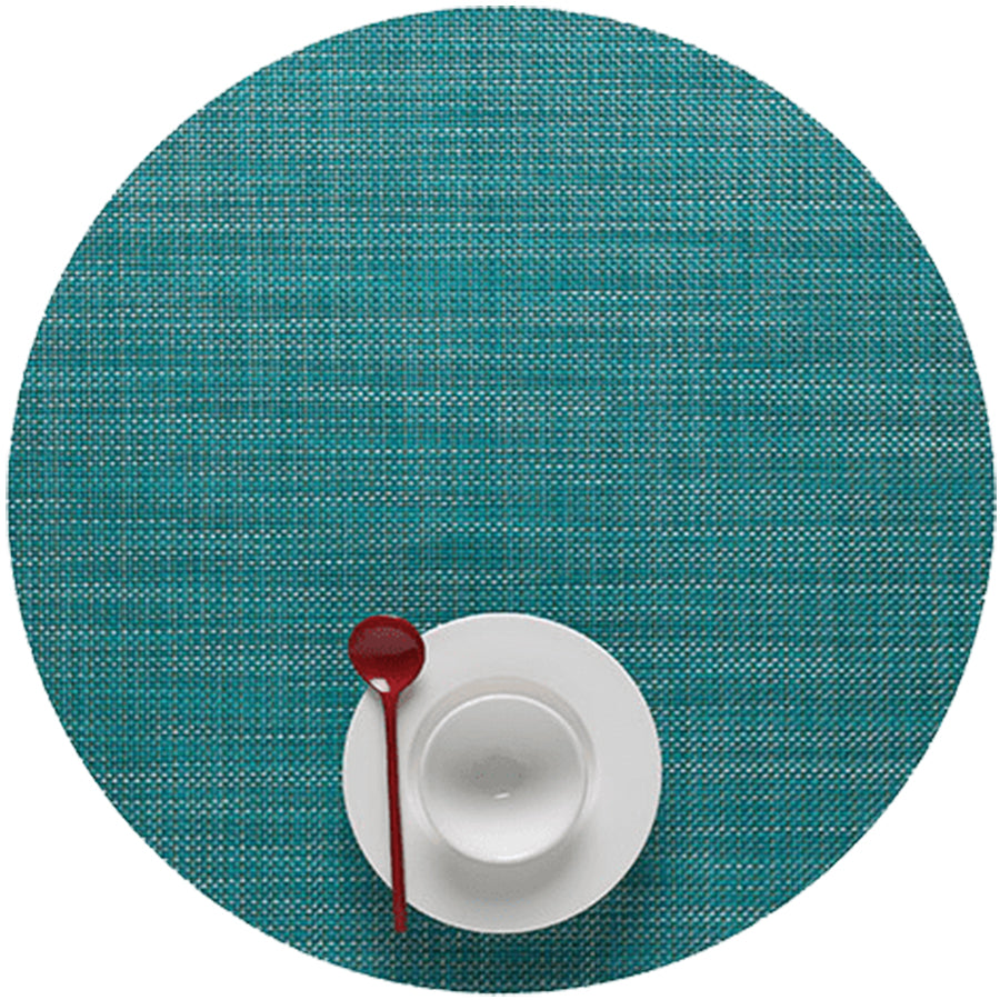 Mini Basketweave Placemats: Round + Turquoise