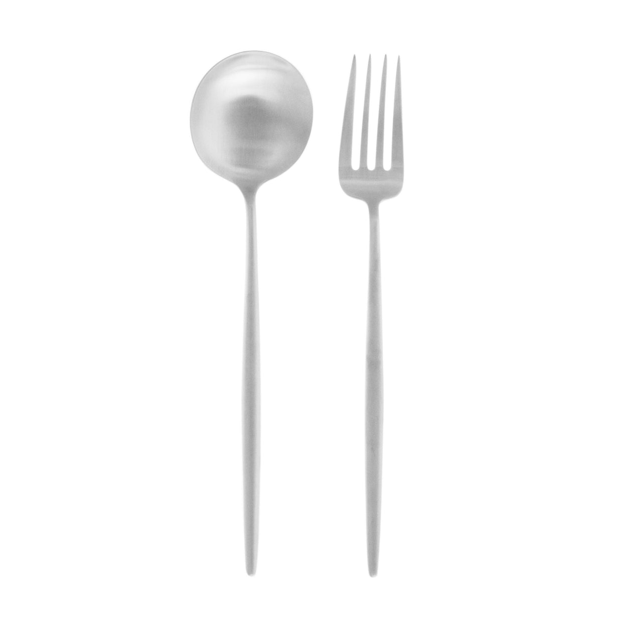 Moon Flatware: Brushed Steel: Serving Fork + Spoon
