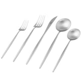 Moon Flatware: Brushed Steel: Single 5-pc Set