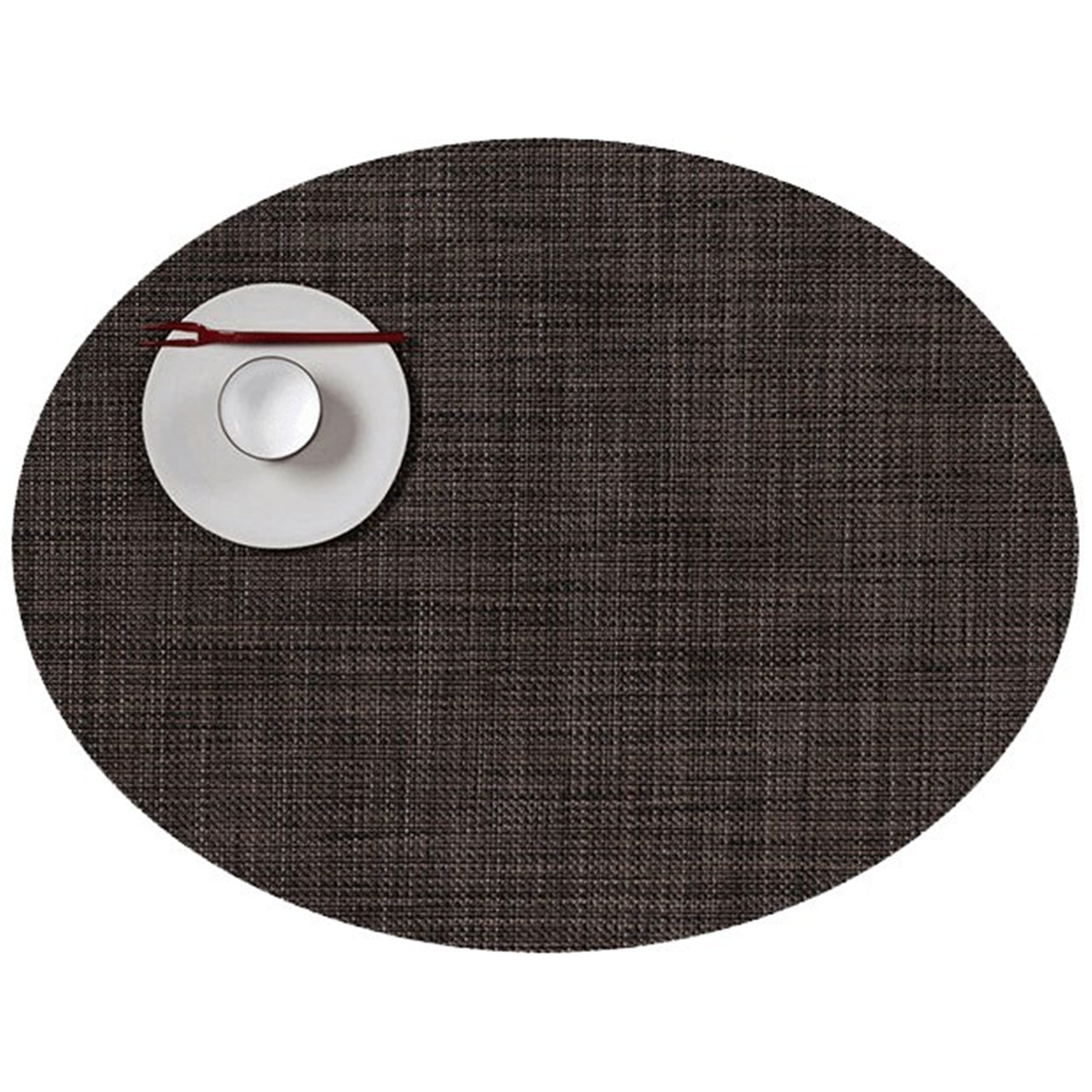 Mini Basketweave Round Placemats: Oval + Dark Walnut