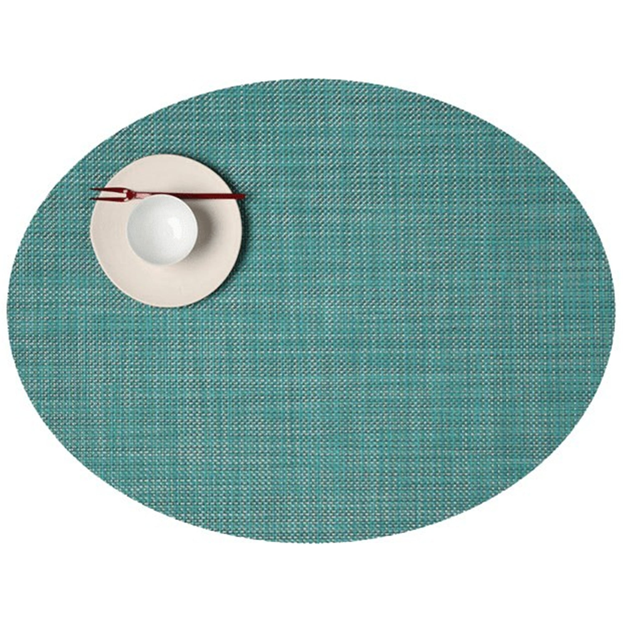Mini Basketweave Placemats: Oval + Turquoise
