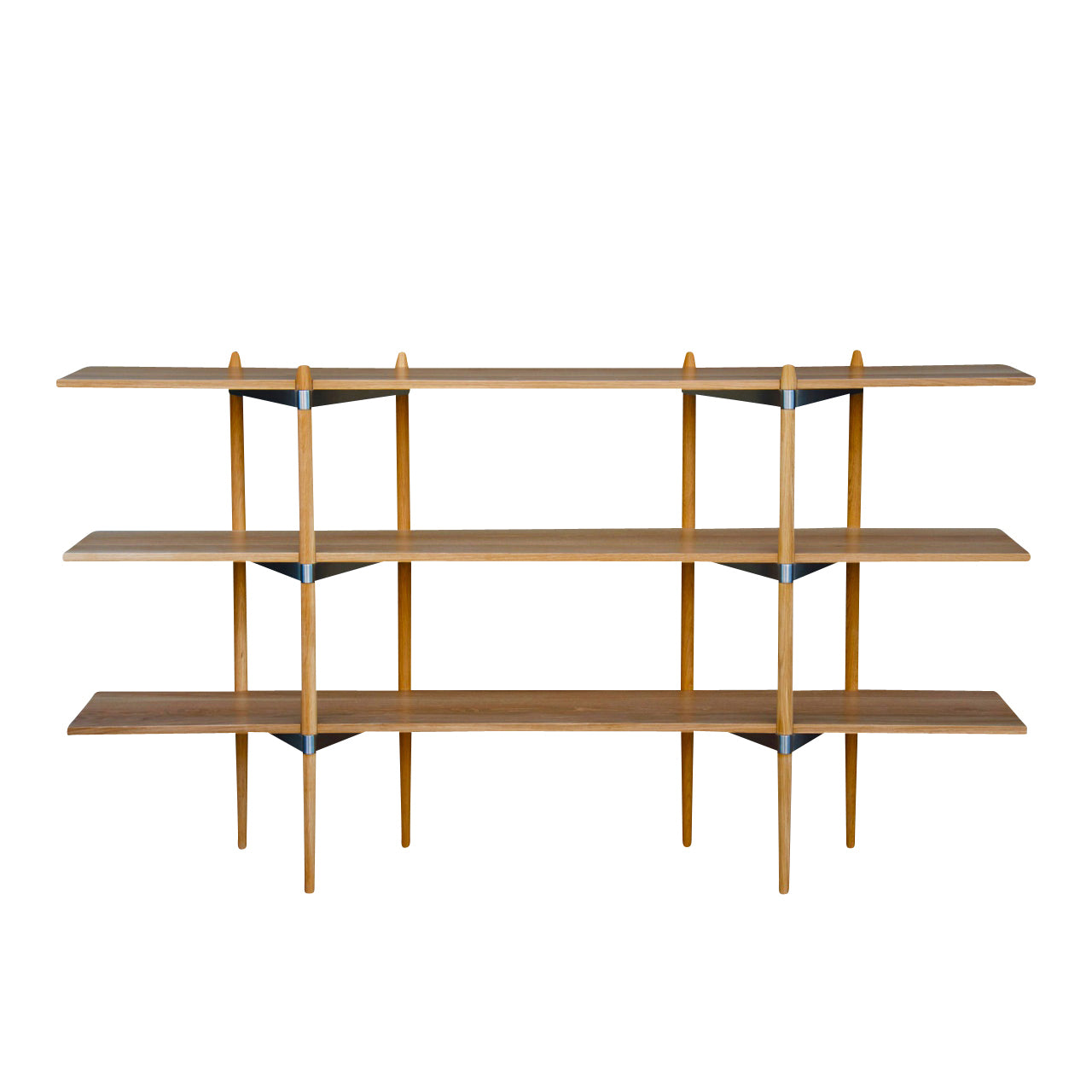 Primo Shelving System: Low + Oak + Stainless Steel