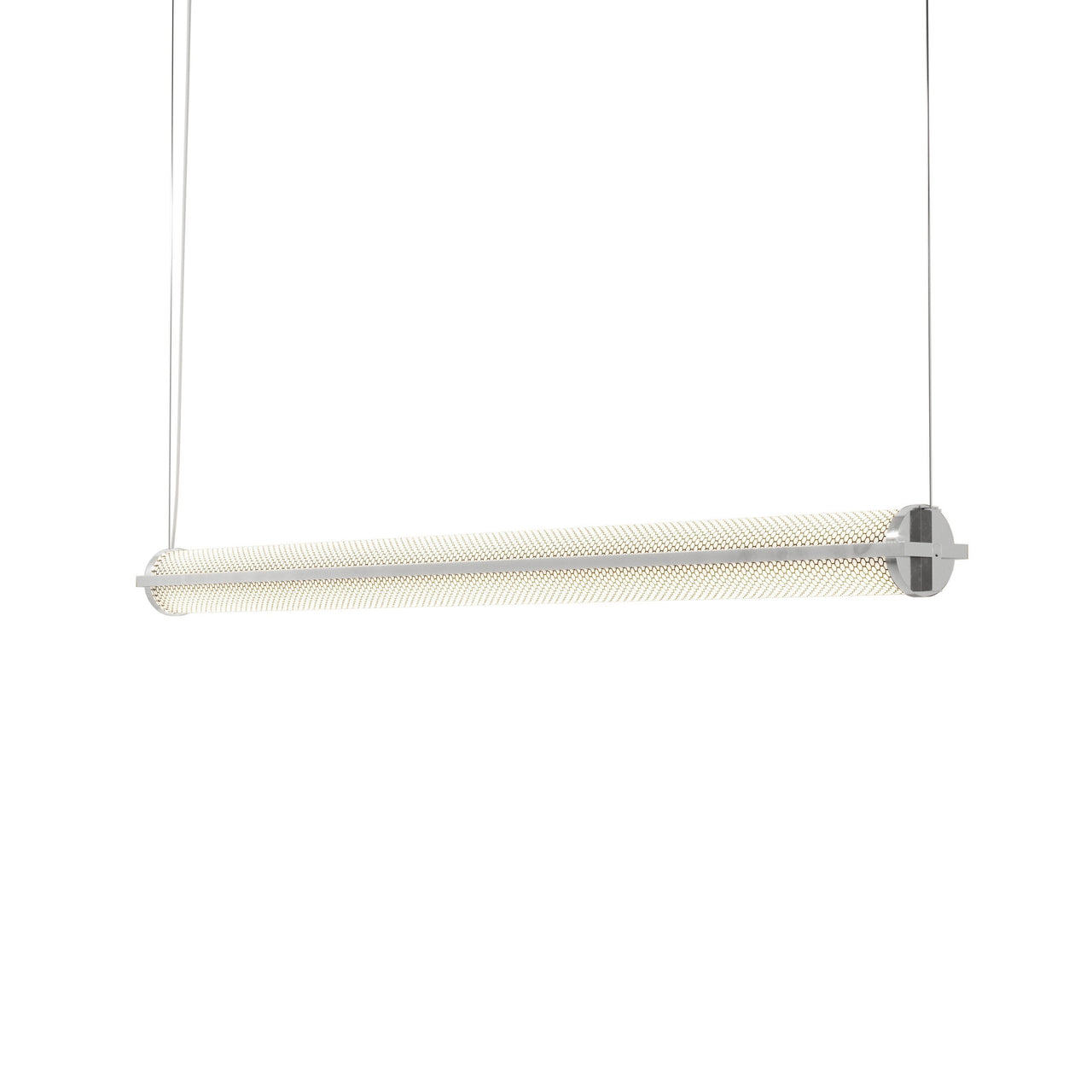 Metropolis Linear Suspension Light: Large + Polished Aluminum + Mesh Diffuser