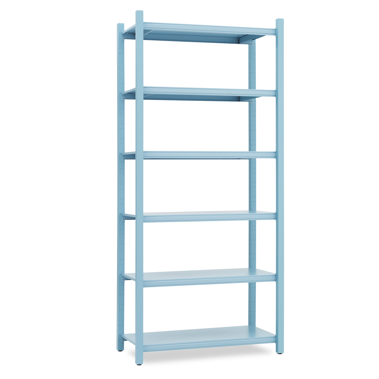 Work Bookcase: High + 4 Pillar + Powder Blue