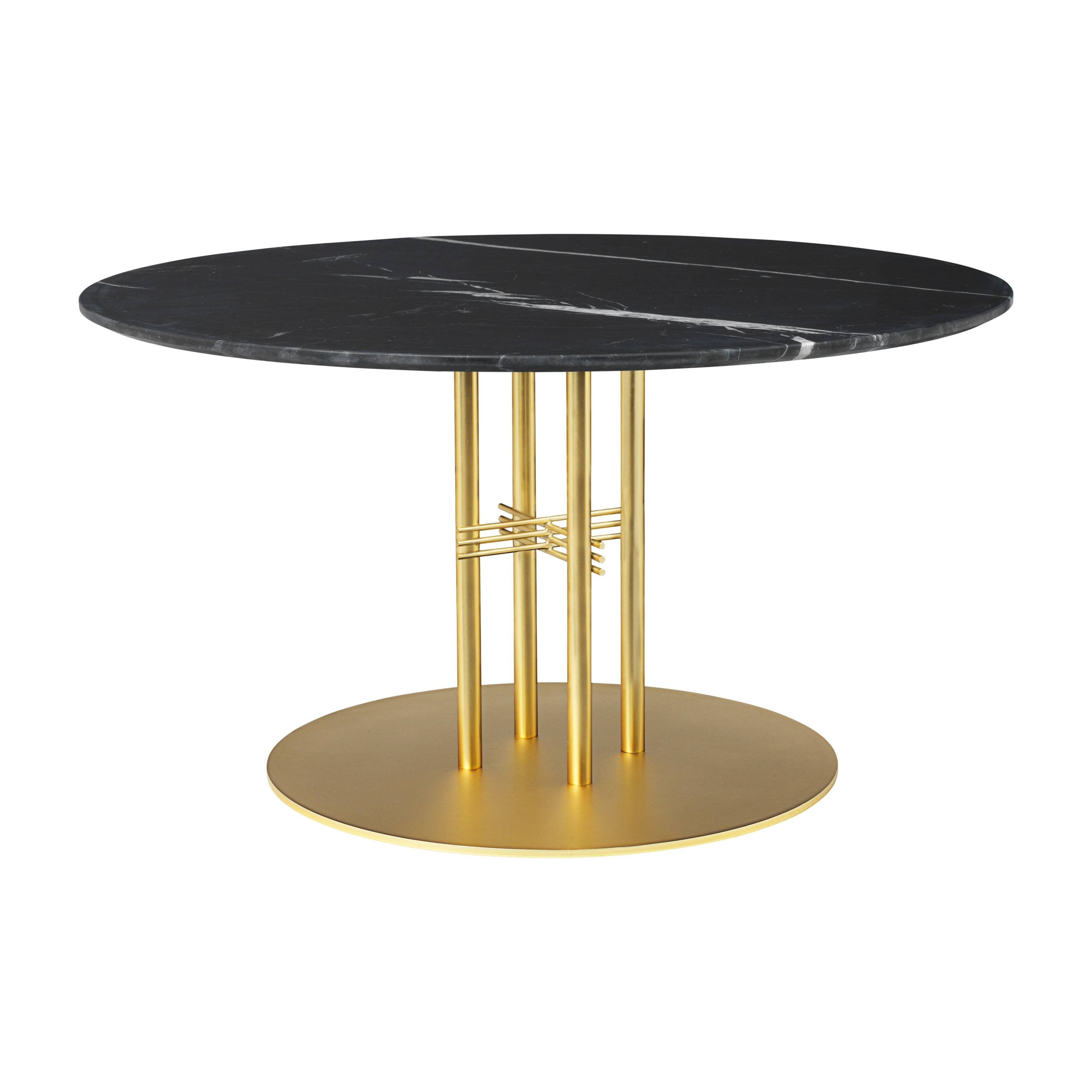 TS Column Lounge Table: Medium + Brass Base + Black Marquina Marble